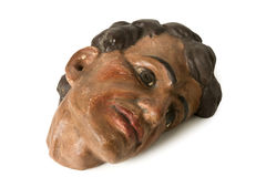 Old Wooden Human Head Royalty Free Stock Photography