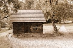 Old wooden hut in forest Stock Photos