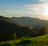 Old wooden hut at the mountains Royalty Free Stock Photos