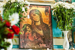 Old wooden image icon of the Mother of God Mary and child Jesus Stock Image