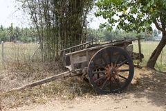 Old wooden Indian wagon for transportation Stock Photos