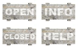 Old wooden informative. Signs set with word stamps isolated Royalty Free Stock Photo