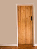 Old wooden interior door. Old wooden interior cottage door Royalty Free Stock Photo