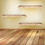 Old wooden interior room with a shelfs. EPS 10 Royalty Free Stock Images