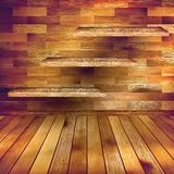 Old wooden interior room with a shelfs. EPS 10 Stock Image