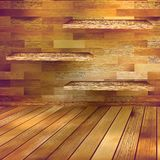 Old wooden interior room with a shelfs. EPS 10 Royalty Free Stock Photos