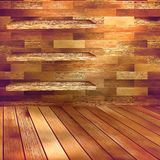 Old wooden interior room with a shelfs. EPS 10 Stock Photo
