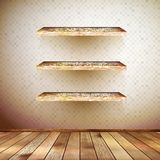 Old wooden interior room with a shelfs. EPS 10 Royalty Free Stock Image