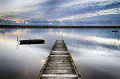 An Old Wooden Jetty. On the Fleet Lagoon at Chesil Beach near Weymouth Royalty Free Stock Photo