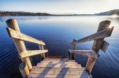 Old wooden jetty. Ladder at an old wooden jetty Royalty Free Stock Image