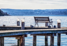 Old wooden jetty. At a lake Royalty Free Stock Image