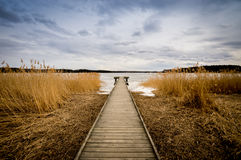 Old wooden jetty, pier royalty free stock photography