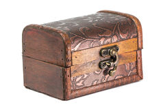 Old wooden jewelry box. Old wooden jewelry closed box isolated over white Stock Photo