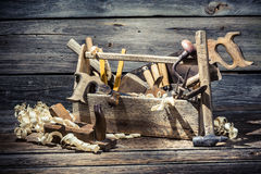 Old wooden joinery tool box Stock Image