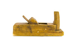 Old wooden jointer tool  isolated on white Royalty Free Stock Photo