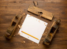 Old wooden jointers,jack-plane on the wood table Stock Photography