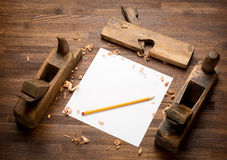Old wooden jointers,jack-plane on the wood table Royalty Free Stock Photo