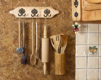 Old wooden kitchen utensils Royalty Free Stock Photos