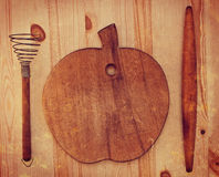 Old wooden kitchenware Stock Photo