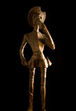 Old Wooden Knight Don Quijote de la Mancha. On black background Royalty Free Stock Photography