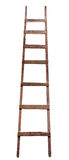 Old wooden ladder. On the white background royalty free stock photo