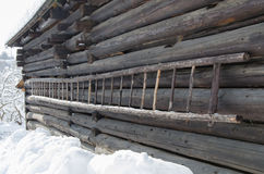 Old wooden ladder on a cottage Stock Photos