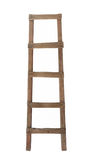 Old wooden ladder isolated. Old rustic wooden ladder.  Isolated on white Stock Photography