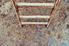 Old wooden ladders on the ground Royalty Free Stock Images