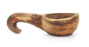 Old wooden ladle Stock Photo