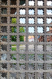 Old wooden lattice on the gates Stock Image
