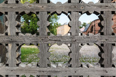 Old wooden lattice on the gates Stock Photo