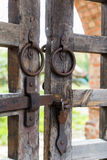 Old wooden lattice on the gates Stock Photos