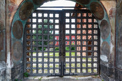 Old wooden lattice on the gates Royalty Free Stock Image