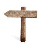 Old wooden left arrow road sign isolated Royalty Free Stock Photo