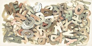 Old wooden letters Backround. Image royalty free stock photo