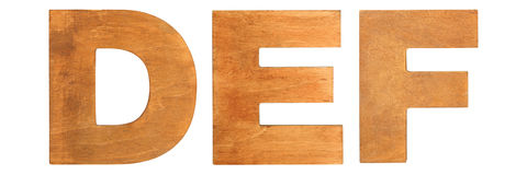 Old wooden letters DEF Royalty Free Stock Photos