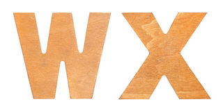 Old wooden letters WX Royalty Free Stock Images