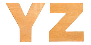 Old wooden letters YZ Royalty Free Stock Photos