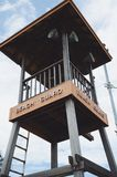 Old wooden lifeguard tower on a beach Stock Images