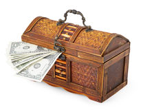 Old wooden little chest and money Stock Photo