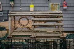 Old Wooden Lobster Trap. In outdoor space in Maine Stock Photo