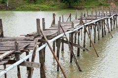 Old wooden  long  bridge. Royalty Free Stock Photos