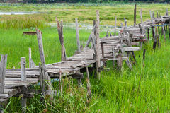 Old wooden  long  bridge. Royalty Free Stock Photography