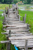 Old wooden  long  bridge. Stock Photos