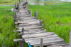Old wooden  long  bridge. Royalty Free Stock Images