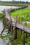 Old wooden  long  bridge. Stock Images