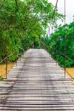 Old wooden long rope bridge cross the stream Stock Image