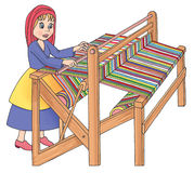 Old wooden loom in weaving Royalty Free Stock Photos