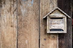Old wooden mailbox with old vintage wooden Royalty Free Stock Image
