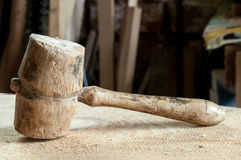 Old wooden mallet Stock Photography